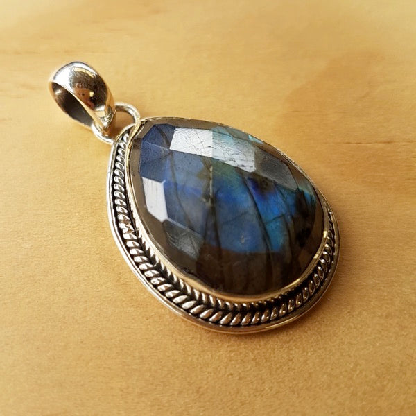 Faceted Teardrop Labradorite Pendant
