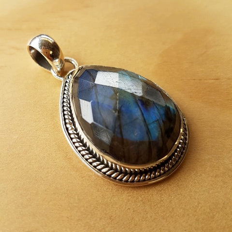 Faceted Teardrop Labradorite Pendant - Inspired Tribe Silver Jewellery