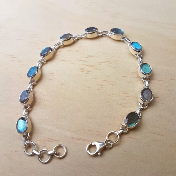 Labradorite and Silver Contemporary Bracelet - Inspired Tribe Silver Jewellery