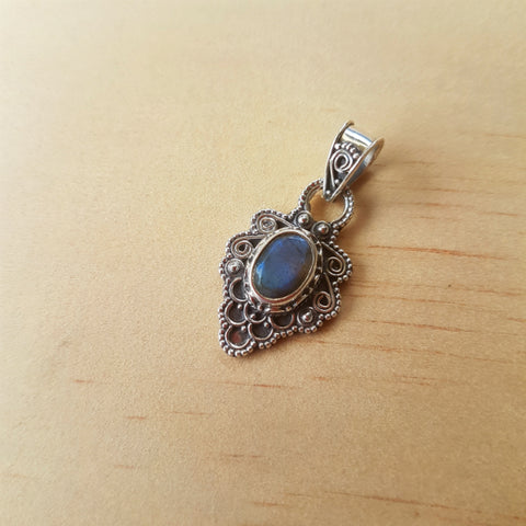 Intricate Scroll And Rawa Labradorite Pendant - Inspired Tribe Silver Jewellery