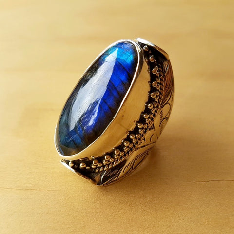 Tibetan Design Labradorite Ring - Inspired Tribe Silver Jewellery