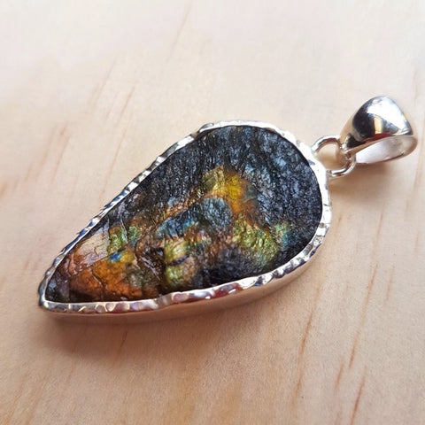 Natural Raw Labradorite Inverted Tear Drop Pendant - Inspired Tribe Silver Jewellery
