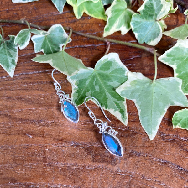 Labradorite Delicate Marquise Earrings