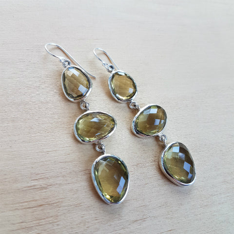 Lemon Quartz Triple Stone Polki Earring
