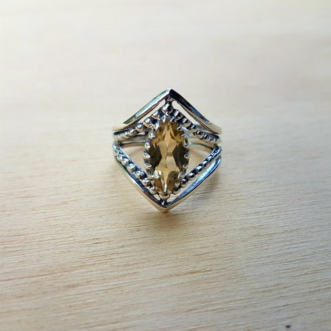 Lemon Quartz Marquise Claw Ring