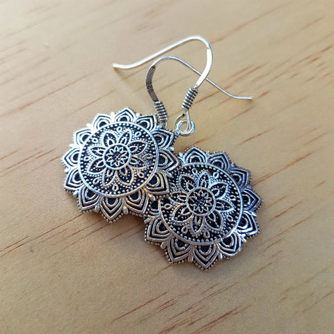 Silver Flower Mandala Earrings - Inspired Tribe Silver Jewellery