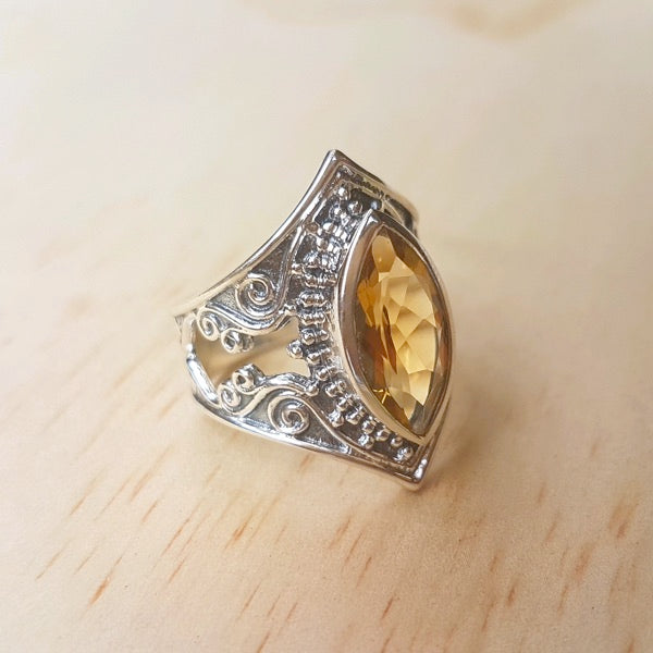 Bold Filigree Marquise Citrine Ring - Inspired Tribe Silver Jewellery