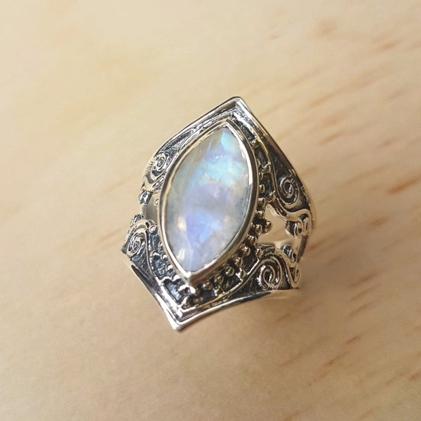 Bold Filigree Marquise Rainbow Labradorite Ring - Inspired Tribe Silver Jewellery