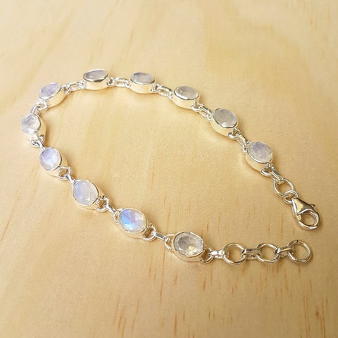 Rainbow Moonstone And Silver Contemporary Bracelet