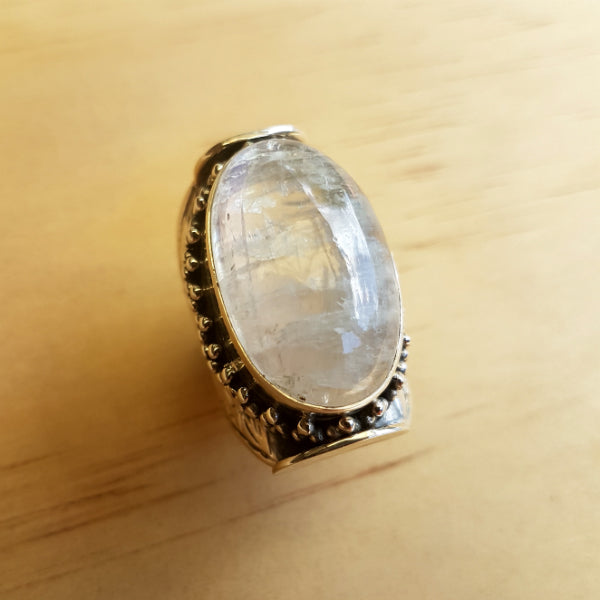 Classic Tibetan Design Rainbow Labradorite (Moonstone) Ring - Inspired Tribe Silver Jewellery