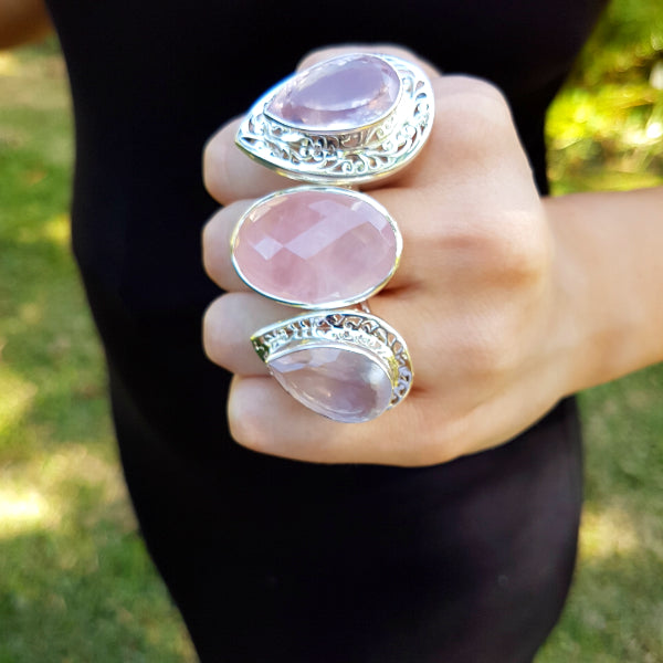 Rose Quartz Asha Jali Ring