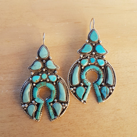 Turquoise Nepalese Artisan Earrings