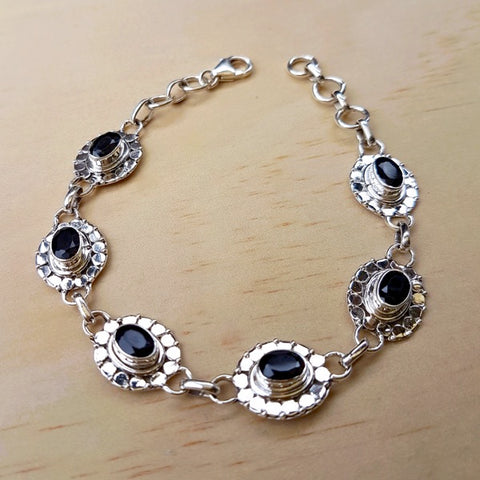 Black Onyx and Silver Detailed Tennis Bracelet