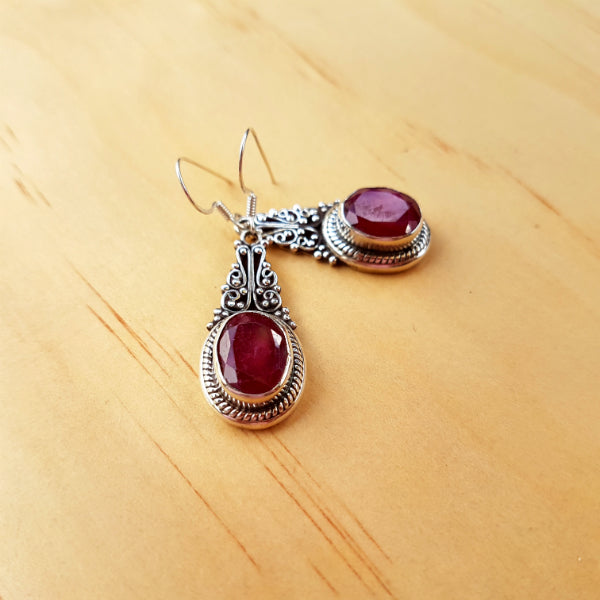 Royal Ruby Drop Earrings - Inspired Tribe Silver Jewellery