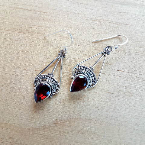 Garnet Teardrop Earrings