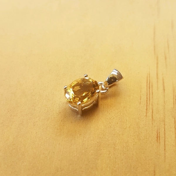 Small Citrine Oval Pendant - Inspired Tribe Silver Jewellery
