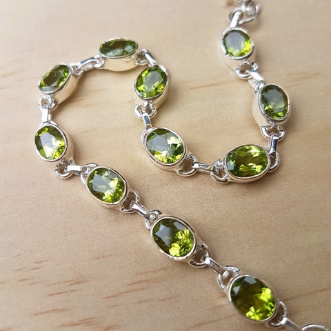 Peridot and Silver Contemporary Bracelet
