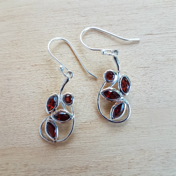 Garnet Petal Earrings