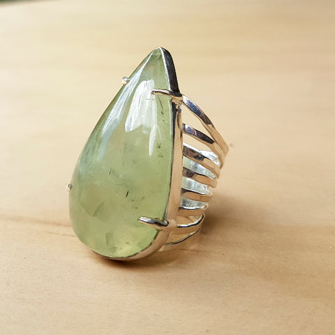 Teardrop Clawset Prehnite Ring - Inspired Tribe Silver Jewellery