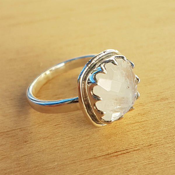 Rainbow Moonstone Rose Cut Ring