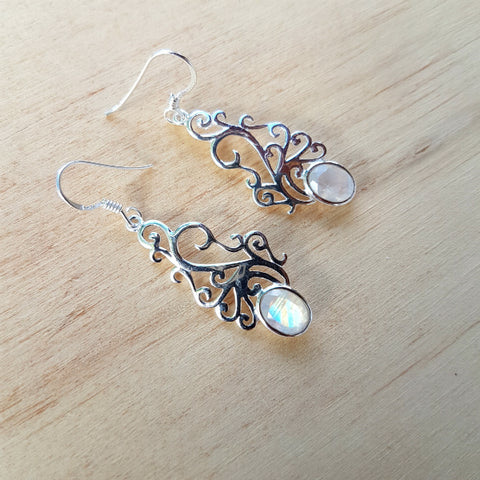 Rainbow Moonstone Champa Earrings