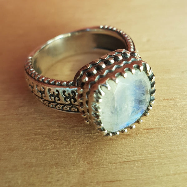 Rainbow Moonstone Frankie Ring