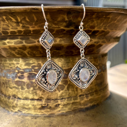 Rainbow Moonstone Double Drop Earrings