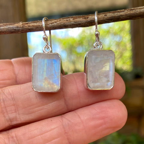 Rainbow Moonstone Grace Cube Earrings