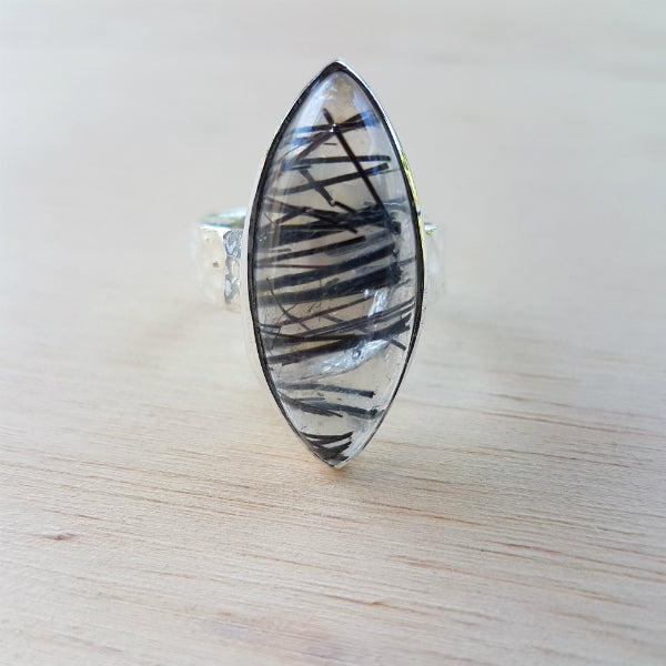 Black Tourmalated Quartz Hammer Band Ring