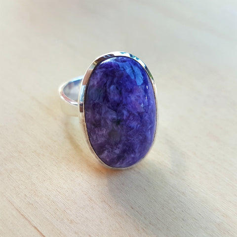 Charoite Oval Grace Ring