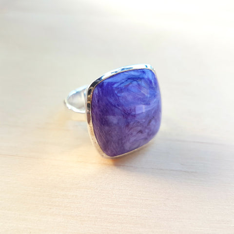 Charoite Square Grace Ring