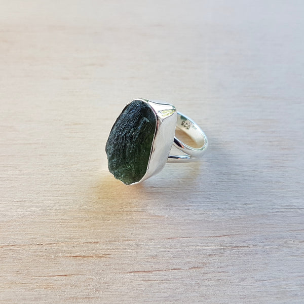 Moldavite Freeform Ring