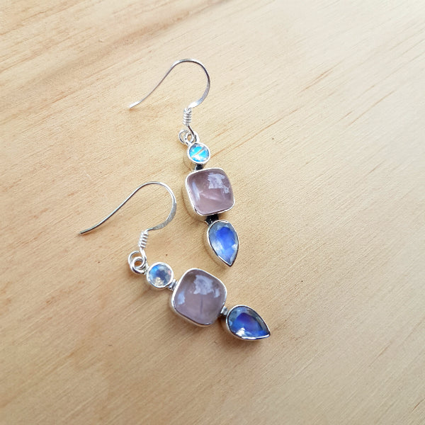 Rose Quartz and Rainbow Moonstone Raaka Earrings