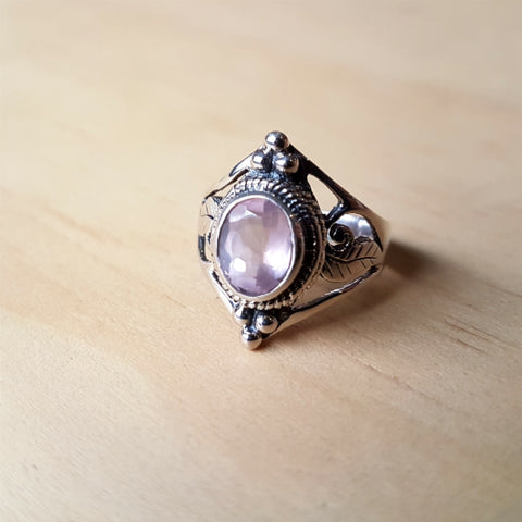 Rose Quartz Jali Cut Sterling Silver Ring - Inspired Tribe Silver Jewellery