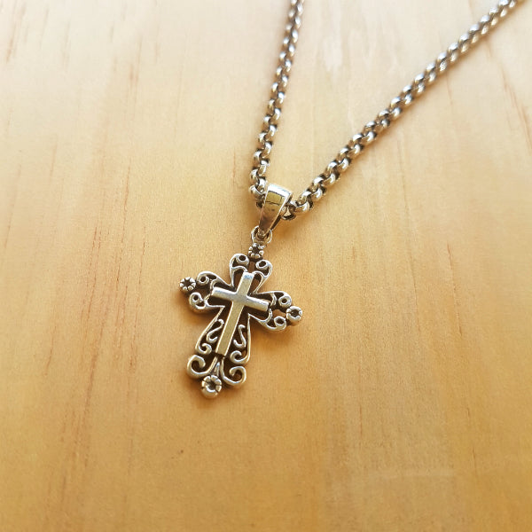 Silver Filigree Cross Pendant