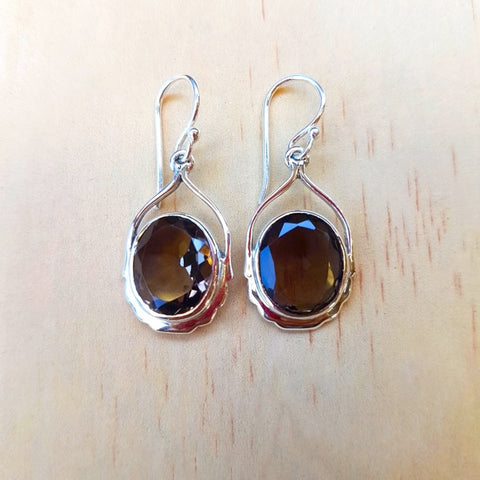 Smoky Quartz Contemporary Sterling Silver Earrings