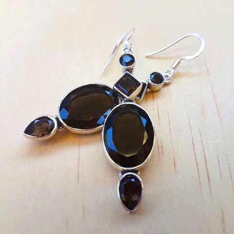 Smoky Quartz Multi Sone Earrings May edit - Inspired Tribe Silver Jewellery