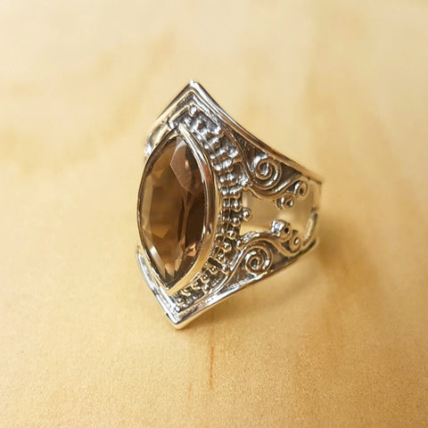 Bold Filigree Marquise Smoky Quartz Ring - Inspired Tribe Silver Jewellery