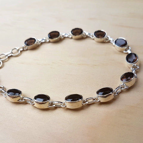 Smoky Quartz and Silver Contemporary Bracelet - Inspired Tribe Silver Jewellery