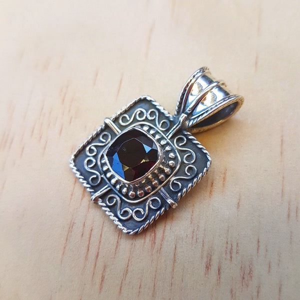 Square Detailed Smoky Quartz Pendant May edit - Inspired Tribe Silver Jewellery