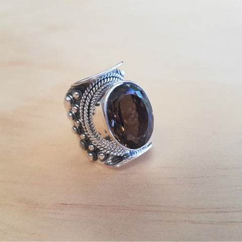 Tibetan Designed Smoky Quartz Ring