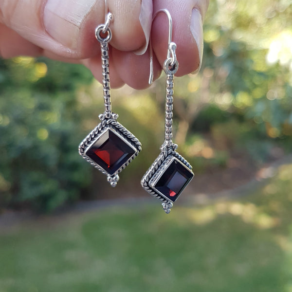 Garnet Tara Earrings
