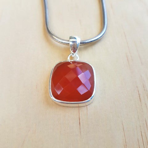 Carnelian Checker Cut Pendant