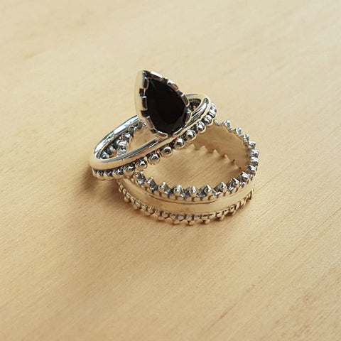 Black Onyx Lois Lane Stacker Ring