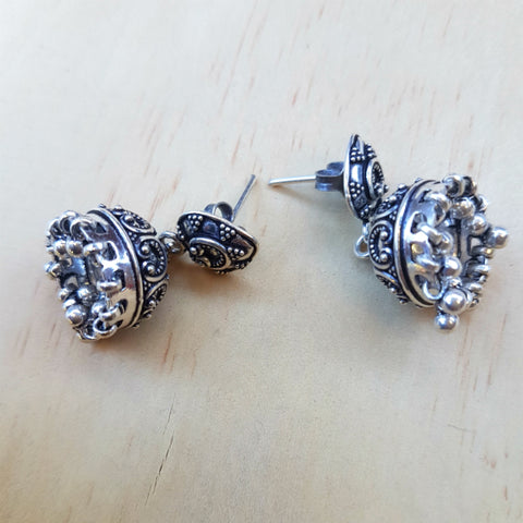 Jhumka Stud Earrings - Inspired Tribe Silver Jewellery