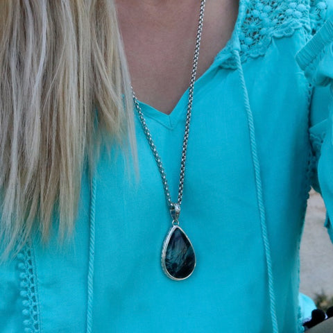 Black Rutile Quartz Teardrop Pendant - Inspired Tribe Silver Jewellery
