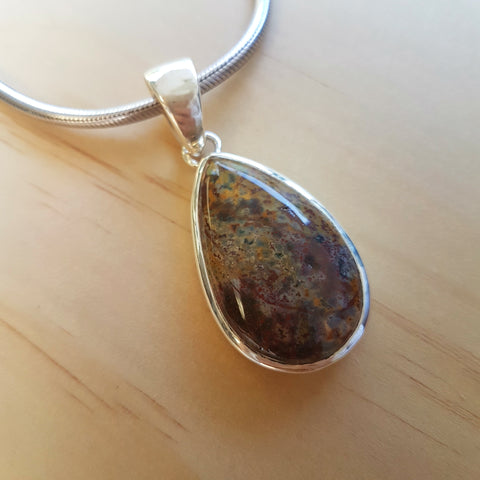 Bloodstone Contemporary Teardrop Pendant