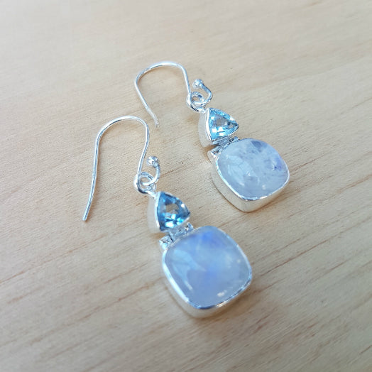 Blue Topaz and Rainbow Moonstone Earrings