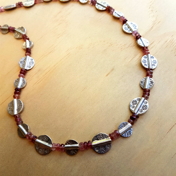 Tourmaline Necklace with Unique Silver Beads - Inspired Tribe Silver Jewellery