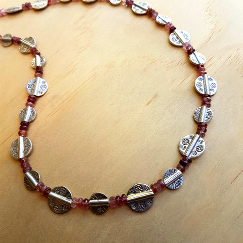Tourmaline Necklace with Unique Silver Beads
